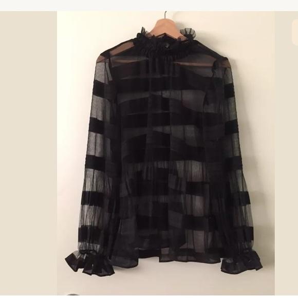 e26276bce17 cq by cq Tops | Nordstrom Mesh Striped Black Blouse | Poshmark